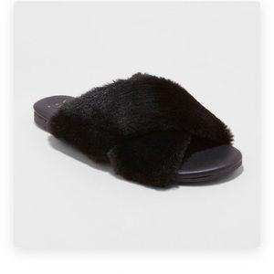 "7 8 A new day Black faux fur ""Frannie"" Sandals NIB"